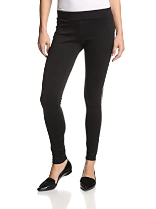 Supply & Demand Women's Tuxedo Legging with Vegan Leather Trim (Black/Black)