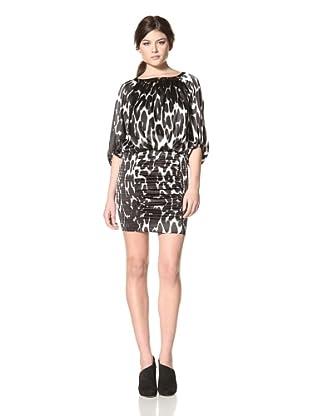 Jessica Simpson Women's Blouson Dress with Smocking (Cougar Black)