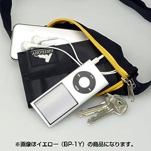 【ウエストポーチ・ベルトポーチ】ランニング用 伸縮フリーサイズポーチ BP-1R ブラックxレッド