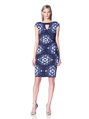 Muse Women's Printed Dress with Cutout at Neckline (Blue/Multi)