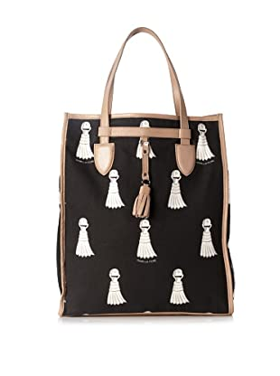 Isabella Fiore Women's Tassel North/South Tote, Black/White/Nude