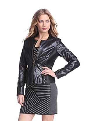 Via Spiga Women's Leather Jacket With Buckle Tabs (Black)