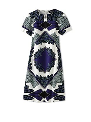 DEREK LAM Women's Kaleidoscope Print Shirt Dress (Marine)