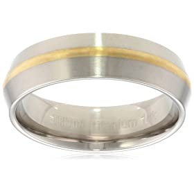 Titanium and 18k 7mm Comfort Fit Band