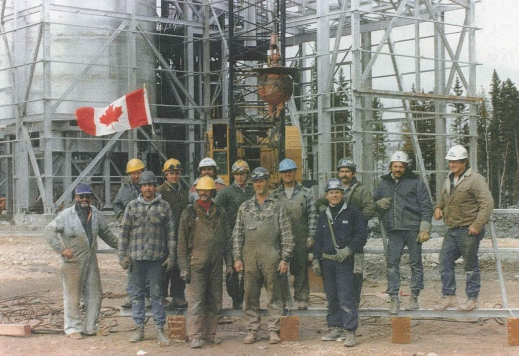 Local 720 Edmonton Iron Worker's Union members on construction site, circa 1980. Image courtesy of the Local 720 Iron Worker's Union, do not reproduce.