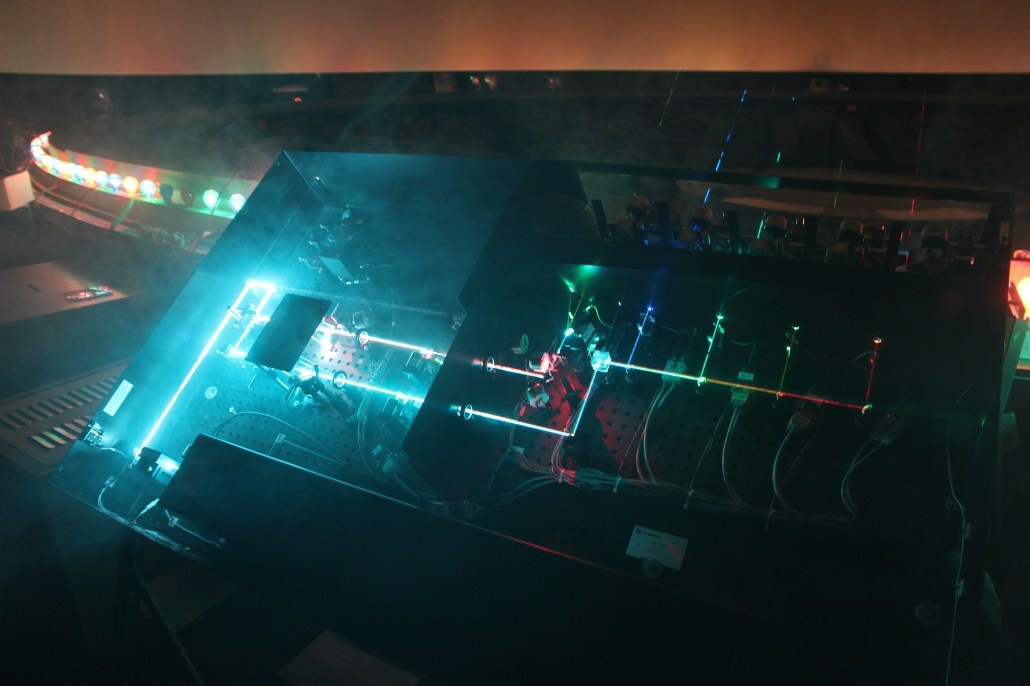 The laser projector on the inside showing the laser beam path.