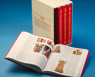 A set of The Canadian Encyclopedia. Image courtesy of The Canadian Encyclopedia, Historica Canada www.thecanadianencyclopedia.ca.
