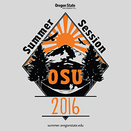 "Francisco Boschetti Tofano's winning t-shirt design. A diamond shape contains a mountain with the sun and two birds in the sky and a reader in a hammock and ""OSU"" at the bottom. Along the top outer edges of the diamond reads ""Summer Session"" and below, ""2016."""