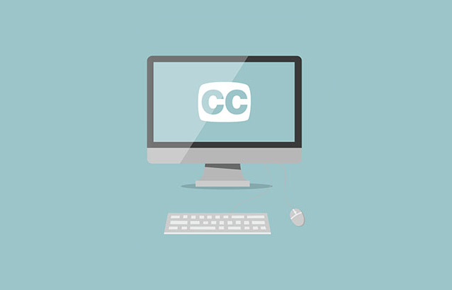 "A digitally designed image of a computer monitor with keyboard and mouse against a light blue background. The computer's screen reads ""CC"" for closed captioning."