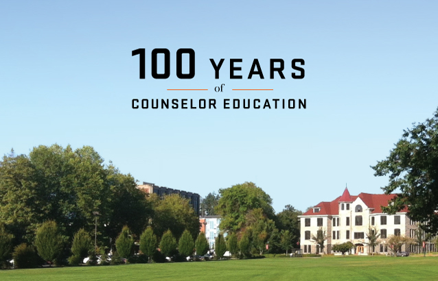 """A photo of the Oregon State University campus with a text overlay that reads """"100 years of counselor education."""""""