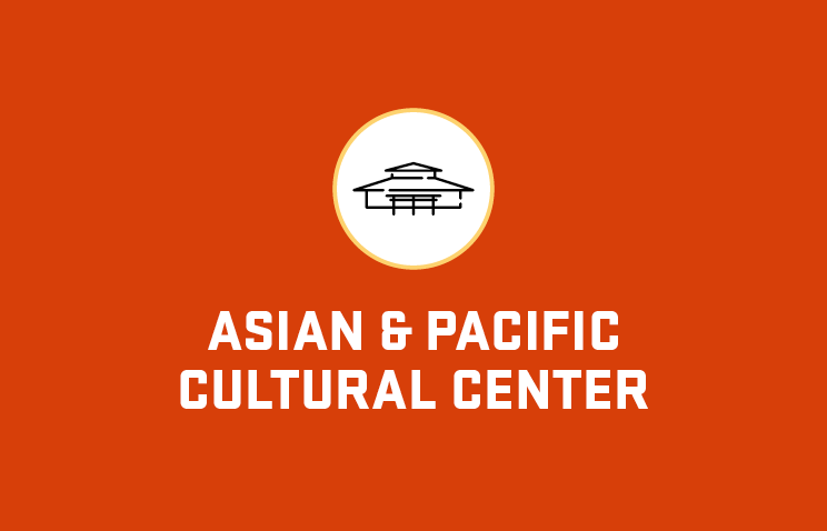 Graphic illustration of the Asian & Pacific Cultural Center building, with the center's name spelled out underneath the image