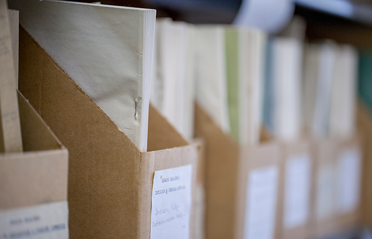 Cardboard file organizers upright on a shelf; each has a white label on the front and holds files inside.