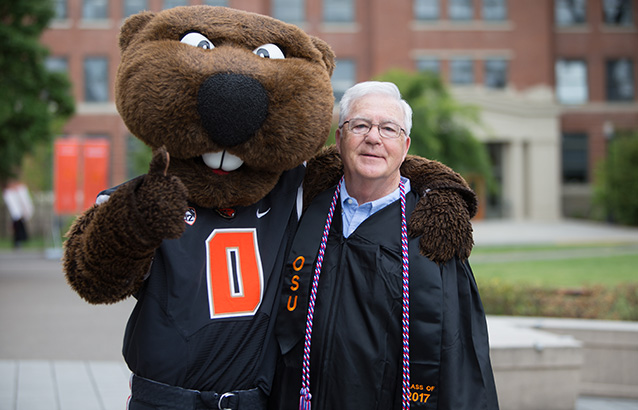 Oregon State's oldest 2017 graduate, Jerry Kight, pictured above, walked at this year's 148th commencement ceremony. After serving in the military, raising a family, working in the computer industry and retiring, Jerry went back to school, eventually earning his liberal studies degree online through Oregon State Ecampus 52 years after he started it at Oregon State.