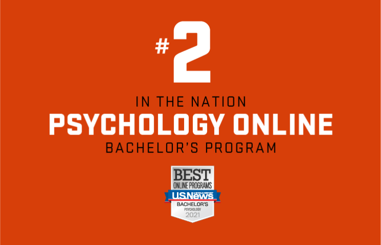 """A graphic that reads """"#2 in the nation psychology online bachelor's program."""" Oregon State is ranked #2 for best online psychology degree."""