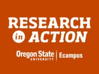"""White text on an orange background reads """"Research in Action, Oregon State University Ecampus"""""""