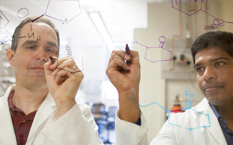 Two chemists in a lab use markers to write on a clear board. Online chemistry