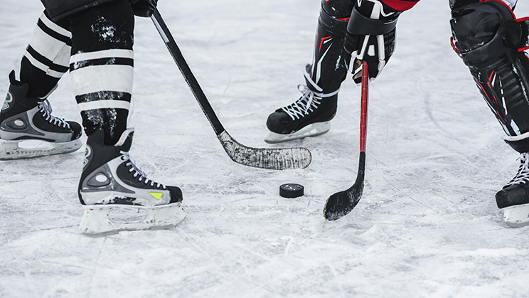 Professional hockey players face off with a puck on the ice between their sticks.