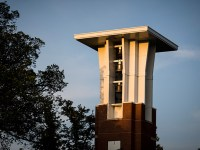 Clock and bell tower on the campus of Oregon State. Teaching online