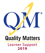 Logo for the Quality Matters (QM) Online Learner Support Certification for 2019