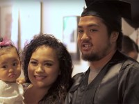 Shiloah Two stands with his family on graduation day, wearing his cap and gown after earning his Bachelor of Arts in Liberal Studies from Hawaii via Oregon State University Ecampus.