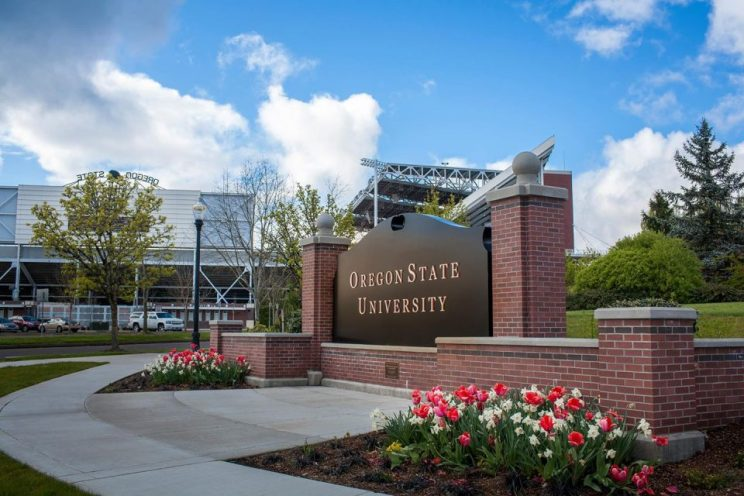 """A black sign with gold lettering surrounded by a brick ledge and blooming flowers reads """"Oregon State University,"""" which is ranked #1 for best online liberal arts colleges"""