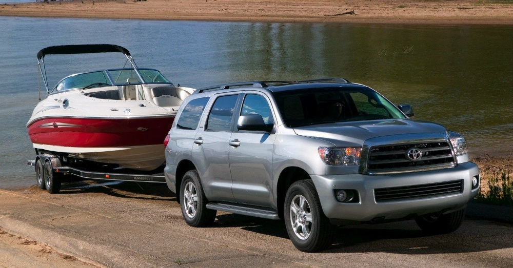 2016 Toyota Sequoia towing a Boat