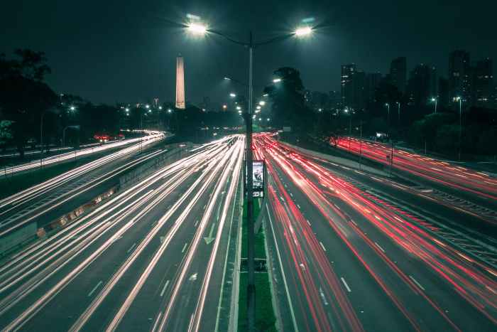 Image of vehicle lights on a highway at night. This is indicative of the highway of business and the things that make it run. Your metrics, drive, and movement.