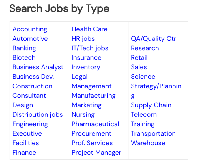Categories of jobs available at SpeedUpMyJobSearch.com.