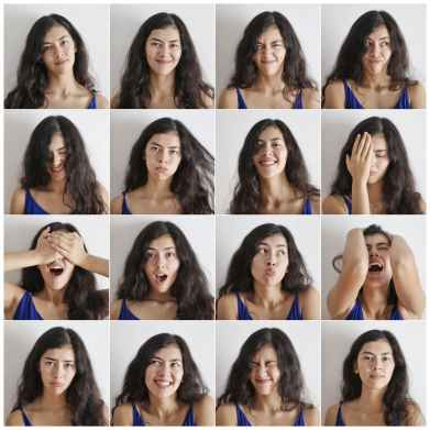 A collage of a young woman's face, with exaggerated facial expressions, used as an example of many emotions tied to reading faces.