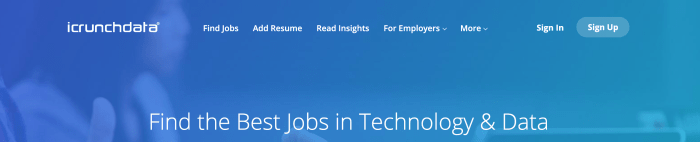 """This logo and click is for """"icrunchdata.com's"""" job board. This is this week's niche job board of the week. Their database doesn't provide an easy-to-find total job count, but it was extremely long list when I gave up on clicking """"Load More."""""""