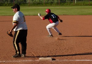 Justin Schedlosky attempted to steal second base while playing Spring Lake July 9 at Burma Park.