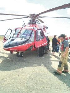 First line responders were on hand during training with the new STARS AW139 helicopter on September 6, 2013 at the Coronation airport.