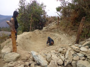 During the construction of plastic pond