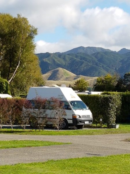Campervan at campsite in Marlborough