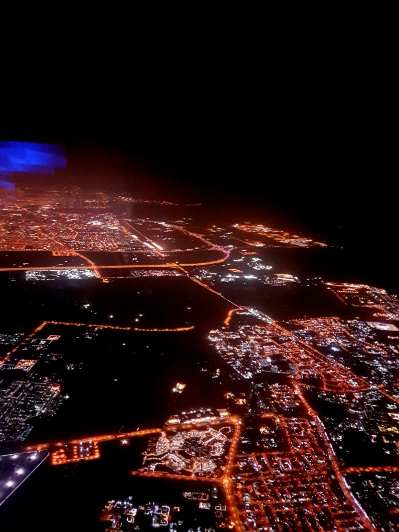 Doha from the air after the longest flight in the world
