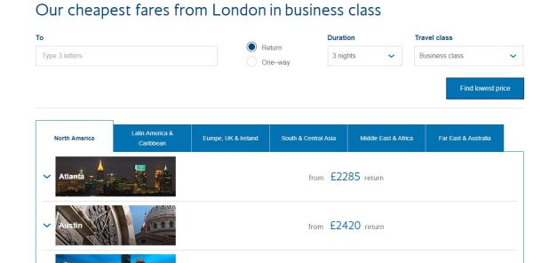 How to use the British Airways Low Fare Finder