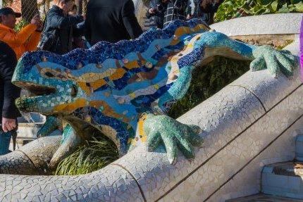 Visiting Park Guell Gaudi Lizard