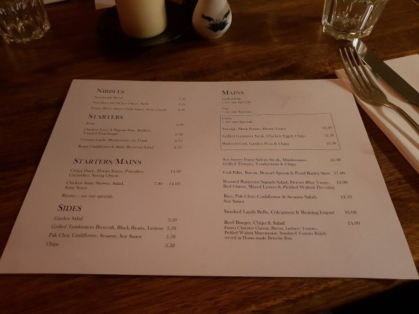 Fox Inn Rudgwick Menu