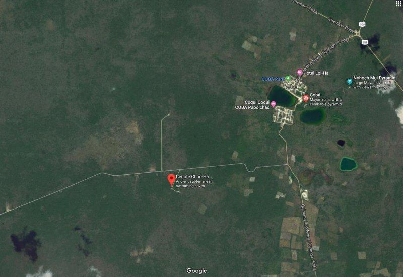 Cenote Choo-Ha map
