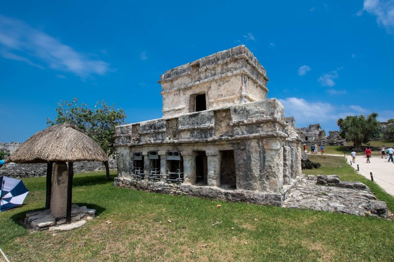Tulum Ruins - A slight touch of red on this building at the top