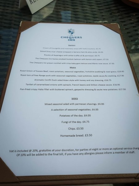 Menu - The Chequers Inn Rowhook