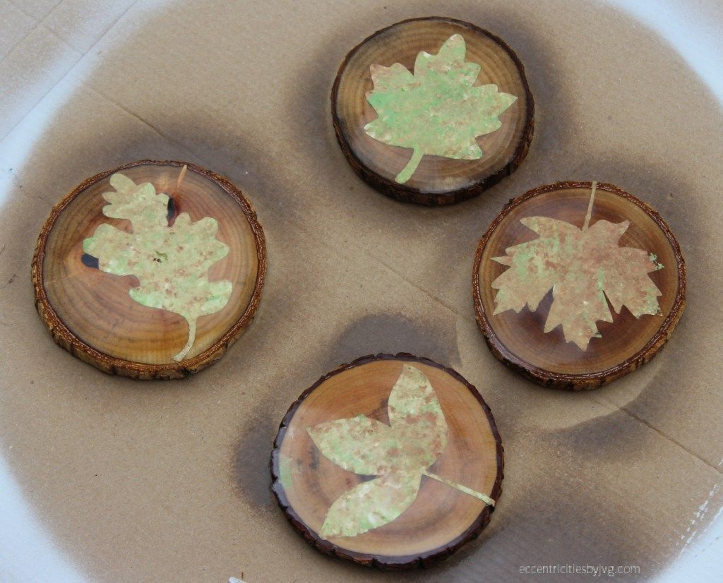 coat the autumn leaves coasters with sealant