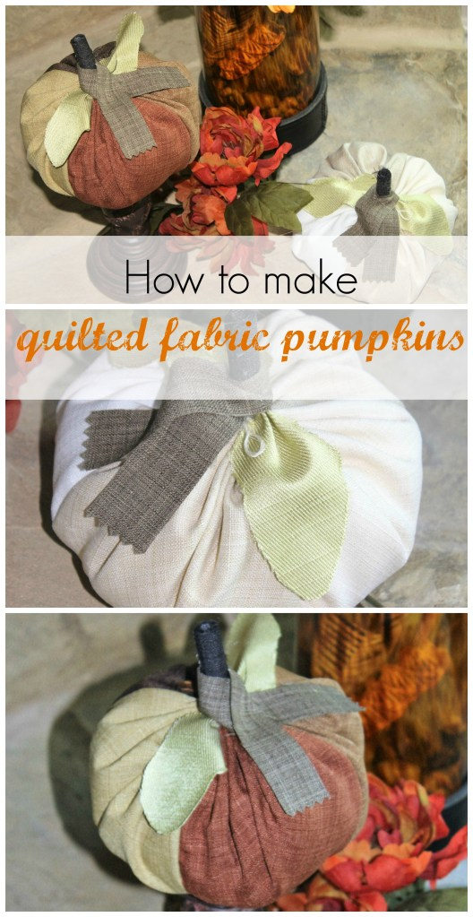 DIY fall décor – quilted fabric pumpkins