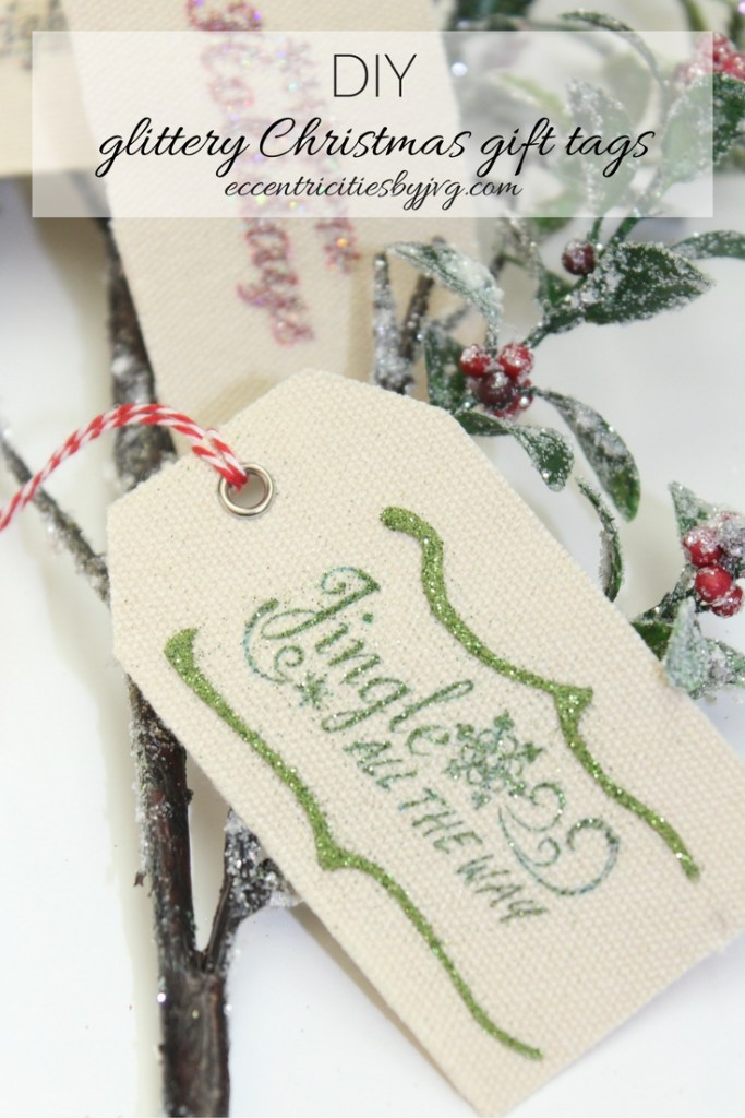 Super easy glittery Christmas gift tags