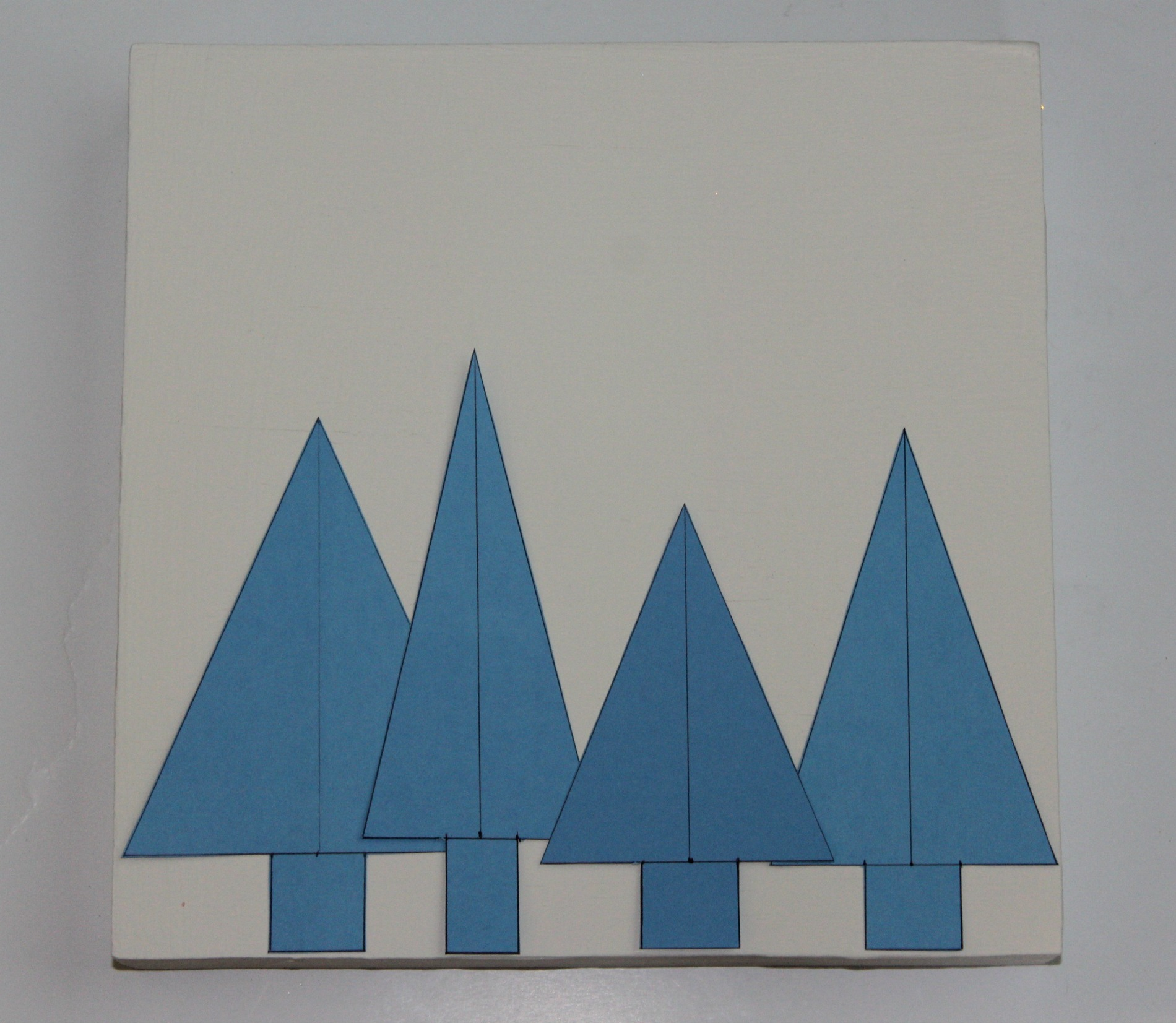 Christmas trees box wall art