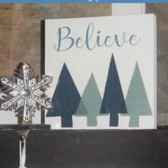 DIY fabric Christmas trees box wall art