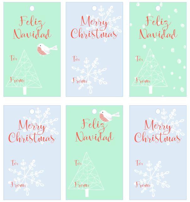 Merry Christmas Feliz Navidad Gift tags free printable