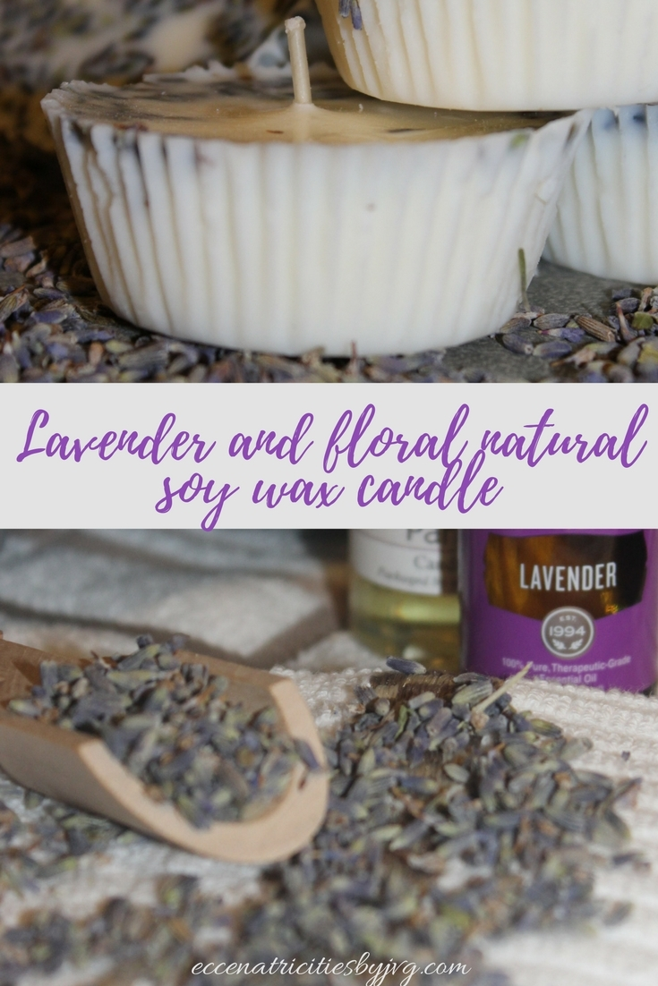 Lavender and floral natural soy wax candle