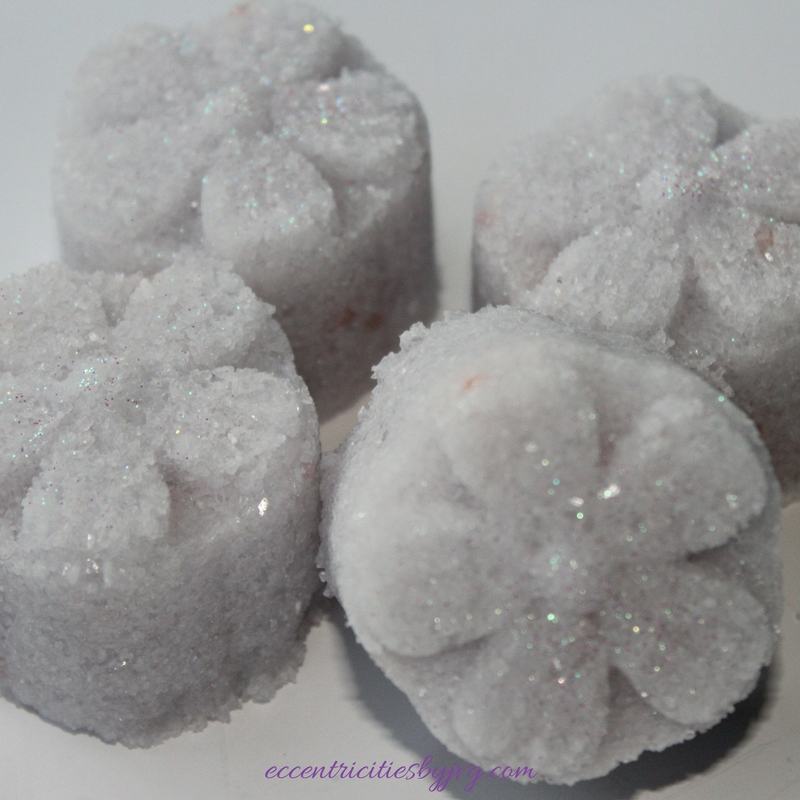 Relaxing floral bath salt bar using mooncake mold
