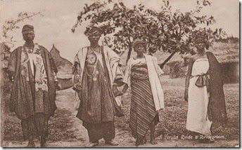 """""""A Yoruba bride and bridegroom""""- vintage postcard circa 1910."""